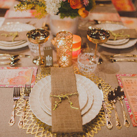 Gold and Burlap Place Setting
