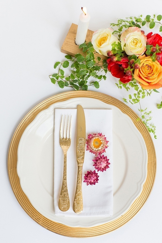 Gold and Floral Place Setting