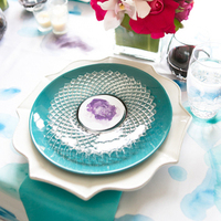 Teal and Purple Place Setting