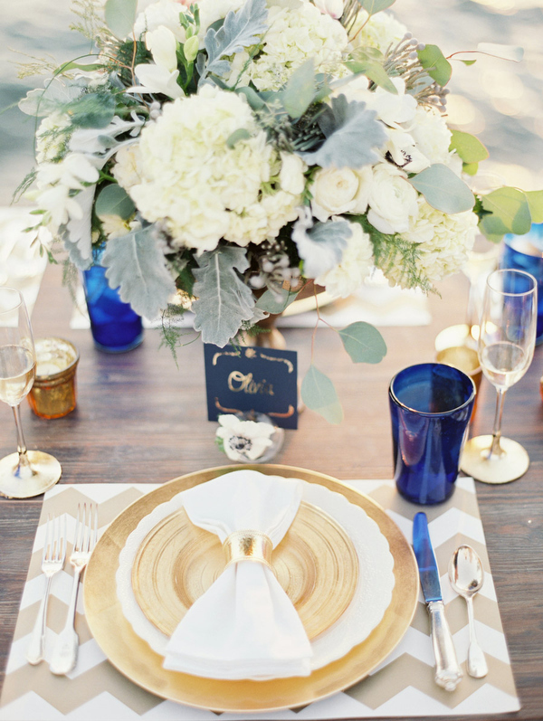 Gold and Navy Place Setting