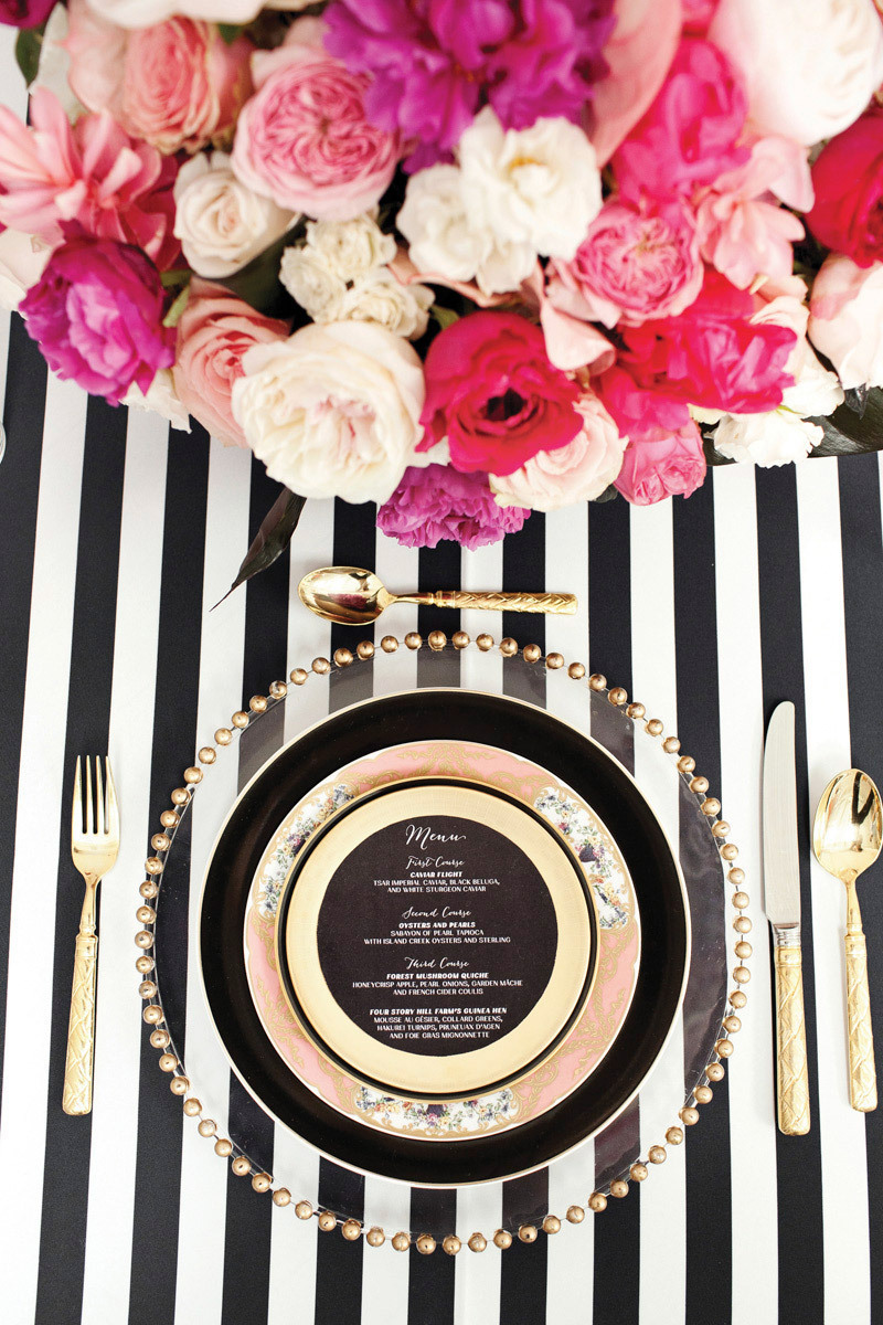 Bold Black and Gold Place Setting