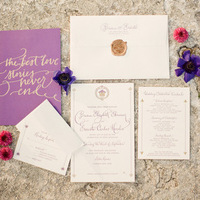 Purple Vintage Wedding Invitations