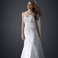 Sweetheart, Strapless, Beading, Sleeveless, sweep train, soft white