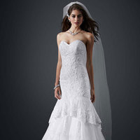 white, Sweetheart, Fit and flare, Floor, Organza, Sleeveless, chapel train, pick up/drama, soft white