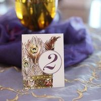Peacock Feather Table Number