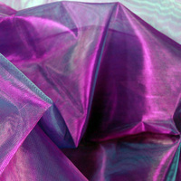 "Sheer Iridescent Fabric Purple, Violet & Blue Organza (28"" width 3 yds)"