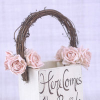 Rustic Flower Girl Basket Here Comes The Bride Sign Country Wedding (Item Number 130061)