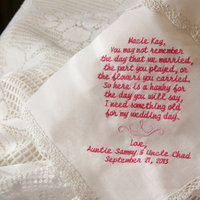 The Flowers you Carried Flower Girl Keepsake Ecru Handkerchief Gift to Flower Girl from Bride and Groom