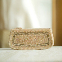 Ivory Beaded Wedding Clutch