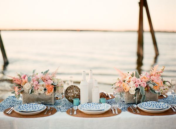 Preppy Beach Wedding Table