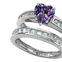Original Star K™ Heart Shape Simulated Alexandrite Wedding Set