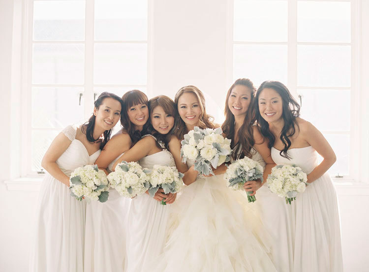 Wintery White Bridesmaids Dresses