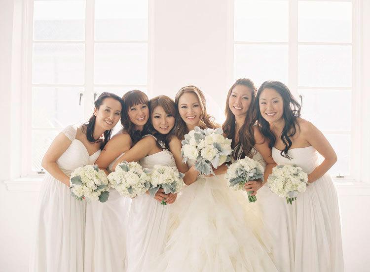 Wintery White Bridesmaids Dresses