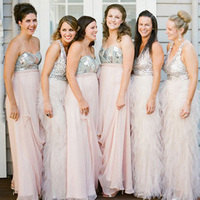 Pink and Silver Bridesmaids Dresses