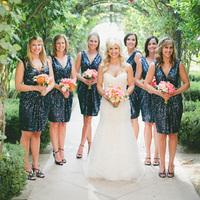 Short Blue Bridesmaids Dresses