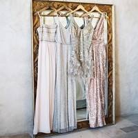 Gray and Pink Bridesmaids Dresses
