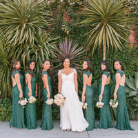 Green Sequin Bridemaids Dresses