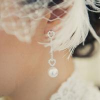 Pearl and Heart Drop Earrings