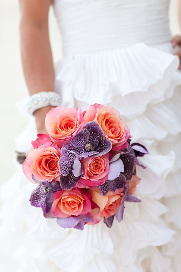 Orchid and Rose Beach Bouquet