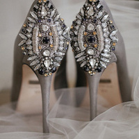 Silver embellished pumps