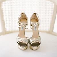 Gold Jimmy Choo platform sandals