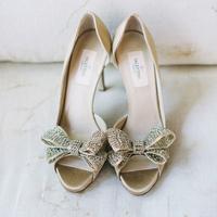 Rhinestone peep-toe heels by Valentino