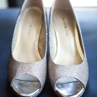 Silver peep-toe wedding shoes