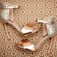 Gold ankle-strap heels