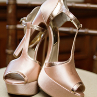 Copper T-strap pumps