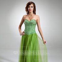Princess Sweetheart Floor-Length Satin Tulle Prom Dress