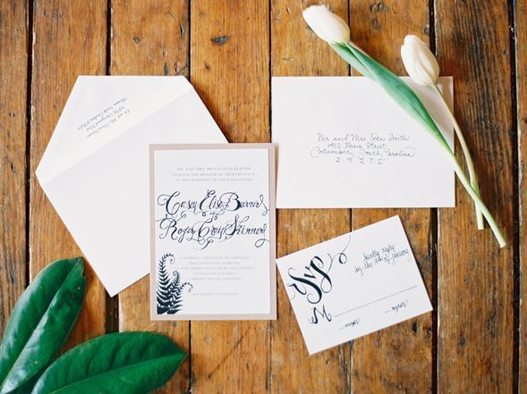 Modern Navy Blue Invitations