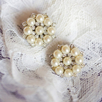 Classic Pearl Studs with Rhinestone Embellishment