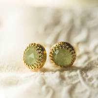 Old Glam Green and Gold Stud Earrings