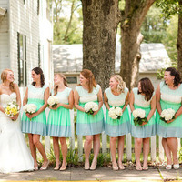 Striped Pastel Bridesmaids Dresses