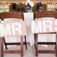 White Stencil Chair Signs