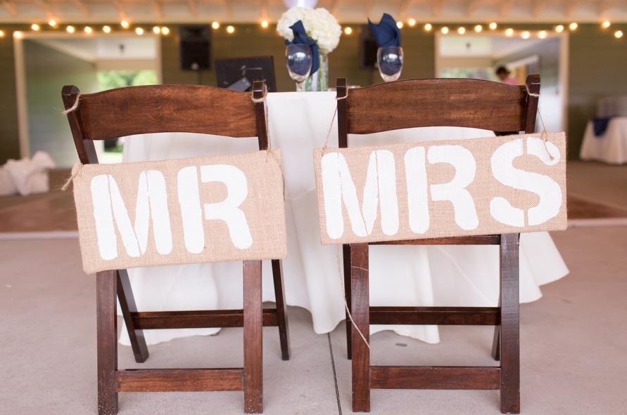 White Stencil Chair Signs
