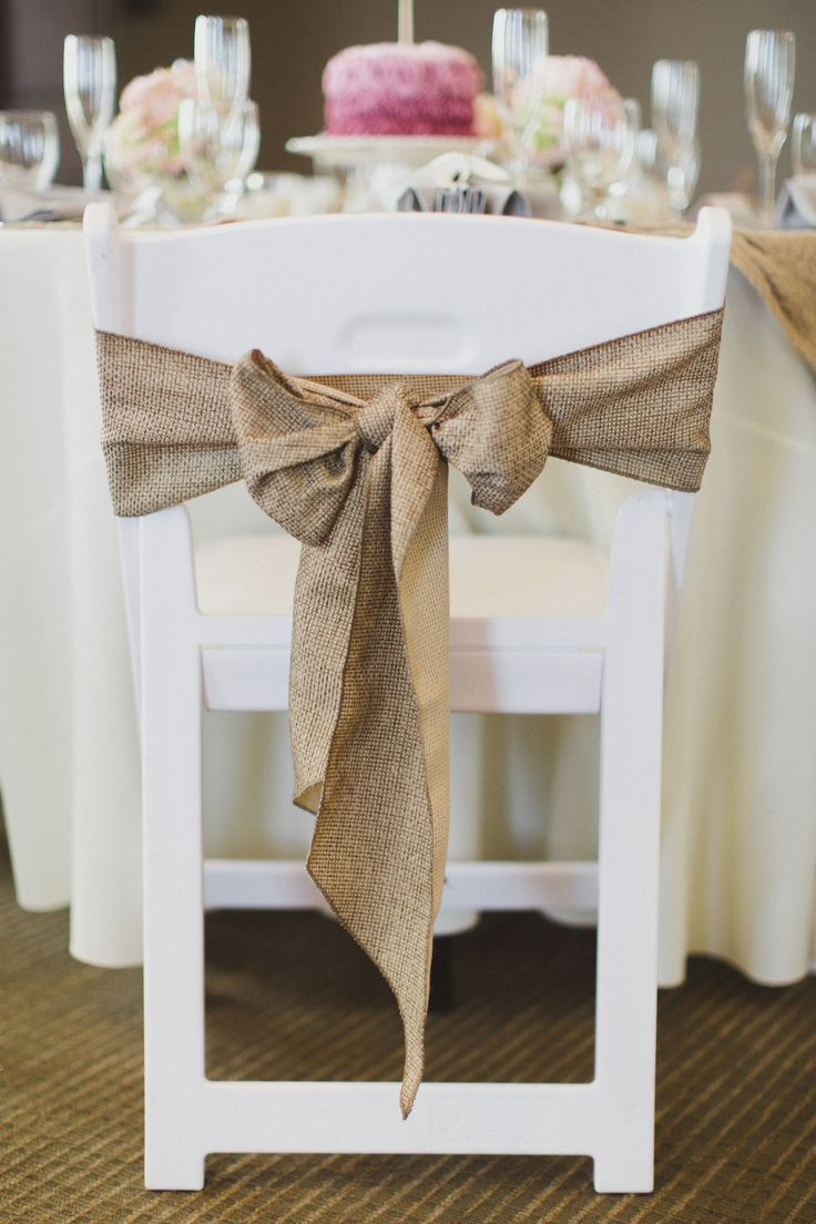 Burlap Bow Chair Decor
