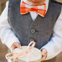 Plaid Orange Cotton Bow Tie