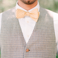 Light Yellow and Polka Dot Bow Tie
