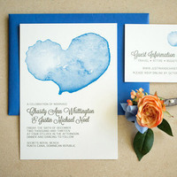 Blue Watercolor Wedding Invite