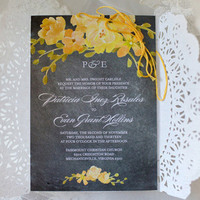 Bright Yellow Flower Invitation