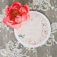 Circular Pastel Floral Wedding Invitation