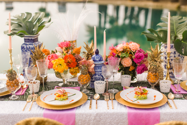 Colorful Tropical Tablescape