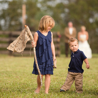 Rustic Blue Flower Girl Dress