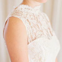 Wedding Dress with Illusion Lace Top