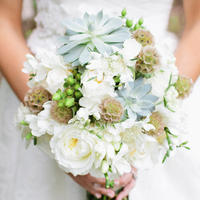Succulent and Scabiosa Bouquets
