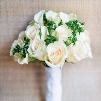 Ivory Rose and Green Berry Bouquet