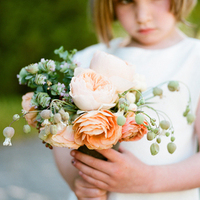 Peach Rose Flower Girl Bouquet