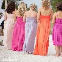 Flowing Chiffon Rainbow Colored Dresses