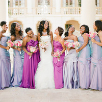 Purple Shaded Bridesmaids Dresses